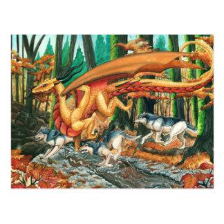 Dragón que corre con los lobos de Carla Morrow Postal