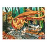 Dragón que corre con los lobos de Carla Morrow Tarjeta Postal