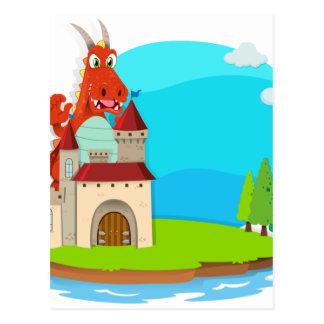Dragón que destruye el castillo postales
