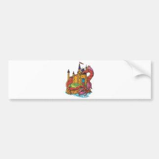 dragón que guarda el castillo etiqueta de parachoque