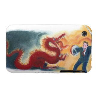 Dragón que lucha del hombre iPhone 3 Case-Mate cárcasa