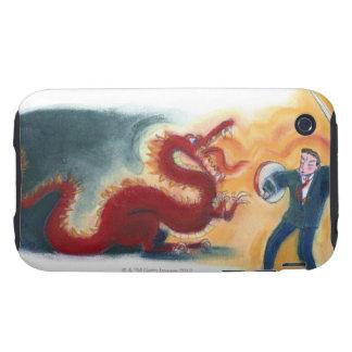 Dragón que lucha del hombre tough iPhone 3 cárcasa