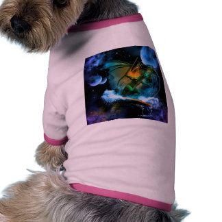 Dragón que practica surf divertido camiseta con mangas para perro