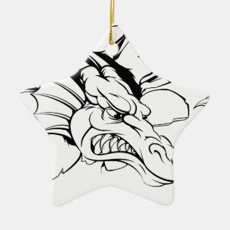 Dragón que rasga a través de la pared adorno navideño de cerámica en forma de estrella