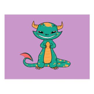 Dragón que sonríe, dibujo animado lindo tarjetas postales