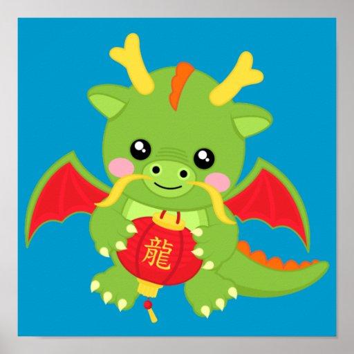 Dragón que sostiene la linterna póster