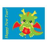 Dragón que sostiene la linterna tarjetas postales