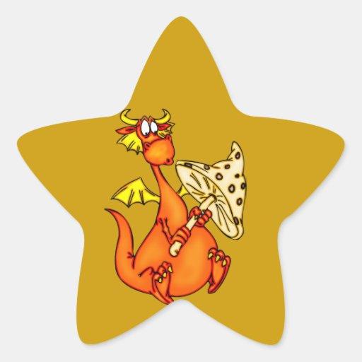 Dragón que sostiene la seta calcomanías forma de estrellaes personalizadas