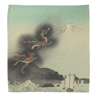 Dragón que sube sobre el monte Fuji Bandanas