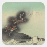 Dragón que sube sobre el monte Fuji Colcomanias Cuadradas Personalizadas