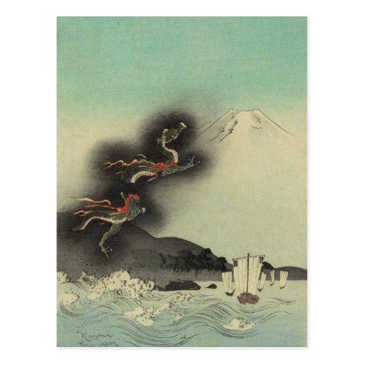 Dragón que sube sobre el monte Fuji Postales