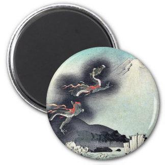 Dragón que sube sobre el monte Fuji Ukiyoe Imán Redondo 5 Cm