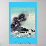 Dragón que sube sobre el monte Fuji Ukiyoe Poster
