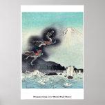 Dragón que sube sobre el monte Fuji Ukiyoe Posters