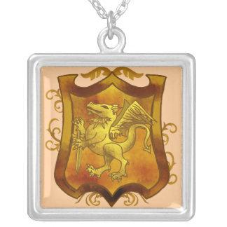 Dragon Quest Shield Square Pendant Necklace