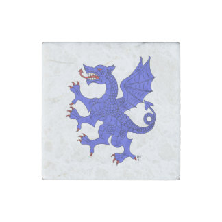 Dragon Rampant Azure Marble Magnet Stone Magnet