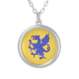 Dragon Rampant (Blue) Silver Plated Necklace