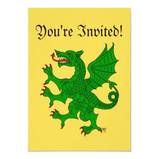 Dragon Rampant (Green) Invitation