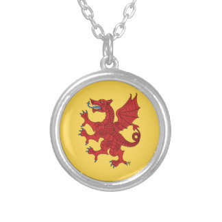 Dragon Rampant (Red) Round Pendant Necklace