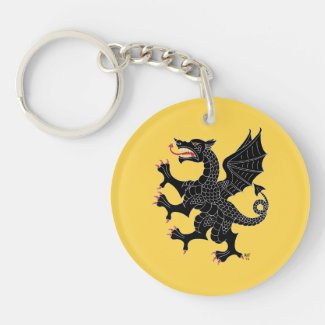 Dragon Rampant Sable Double-Sided Round Acrylic Keychain