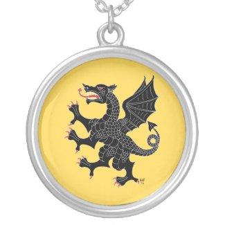 Dragon Rampant Sable (on Yellow) Round Pendant Necklace