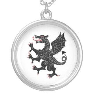 Dragon Rampant Sable Round Pendant Necklace