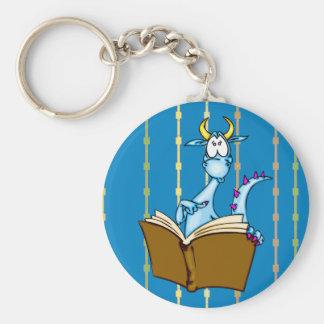 Dragon Reading Book Keychain