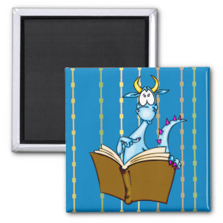 Dragon Reading Book 2 Inch Square Magnet