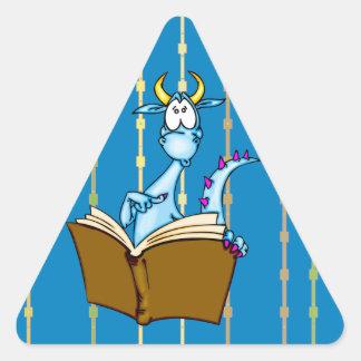 Dragon Reading Book Triangle Sticker