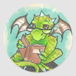 Dragon Reading fantasy art stationery Stickers