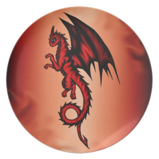 Dragon red dinner plate