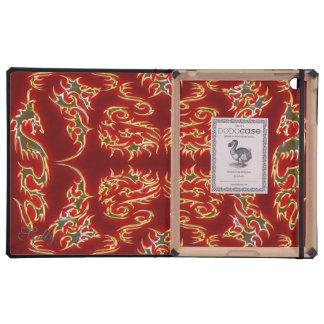 Dragon red gold iPad folio case