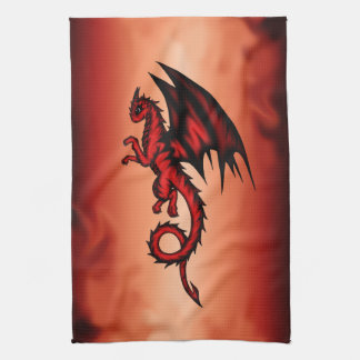 Dragon red hand towels