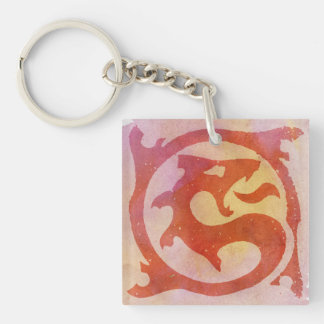 Dragon Red Llavero Cuadrado Acrílico A Una Cara