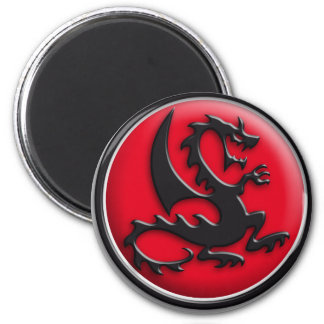 Dragon red 2 inch round magnet