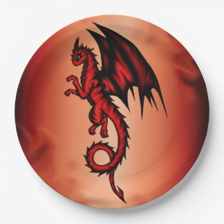 Dragon red paper plate