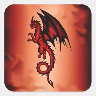 Dragon red square sticker
