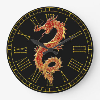 Dragon Red Your Background Color Large Clock