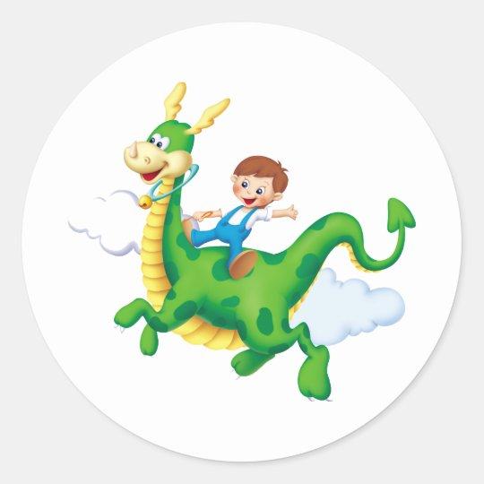 Dragon Rider Classic Round Sticker