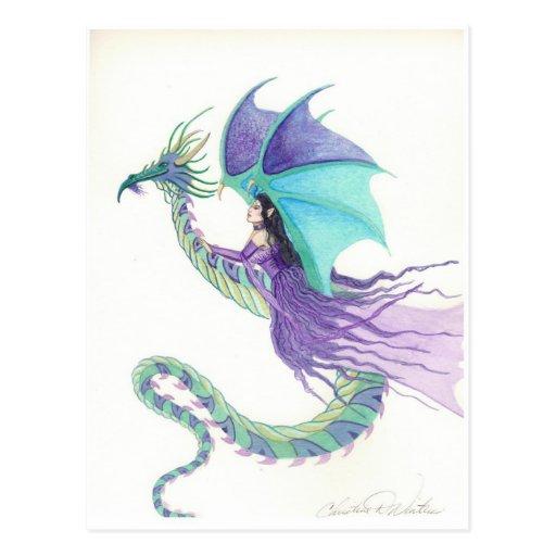 dragon rider fairy postcards