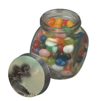 Dragon Rising Over Mount Fuji Glass Candy Jar