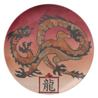 Dragón rojo afortunado, 龙 plato para fiesta