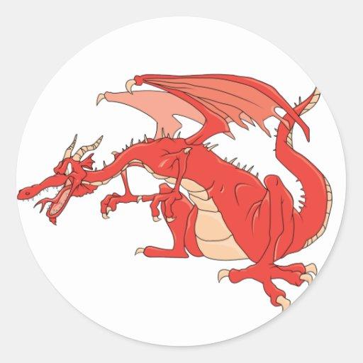 Dragón rojo ardiente pegatina redonda