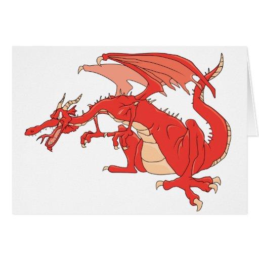 Dragón rojo ardiente tarjetas