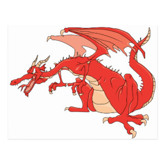 Dragón rojo ardiente tarjetas postales