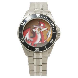 Dragón rojo/blanco reloj de mano