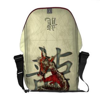 Dragón rojo chino bolsas de mensajería
