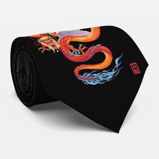 Dragón rojo chino corbatas