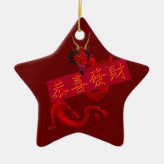Dragón rojo chino dulce adorno de cerámica en forma de estrella
