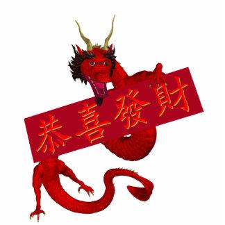 Dragón rojo chino dulce fotoescultura vertical